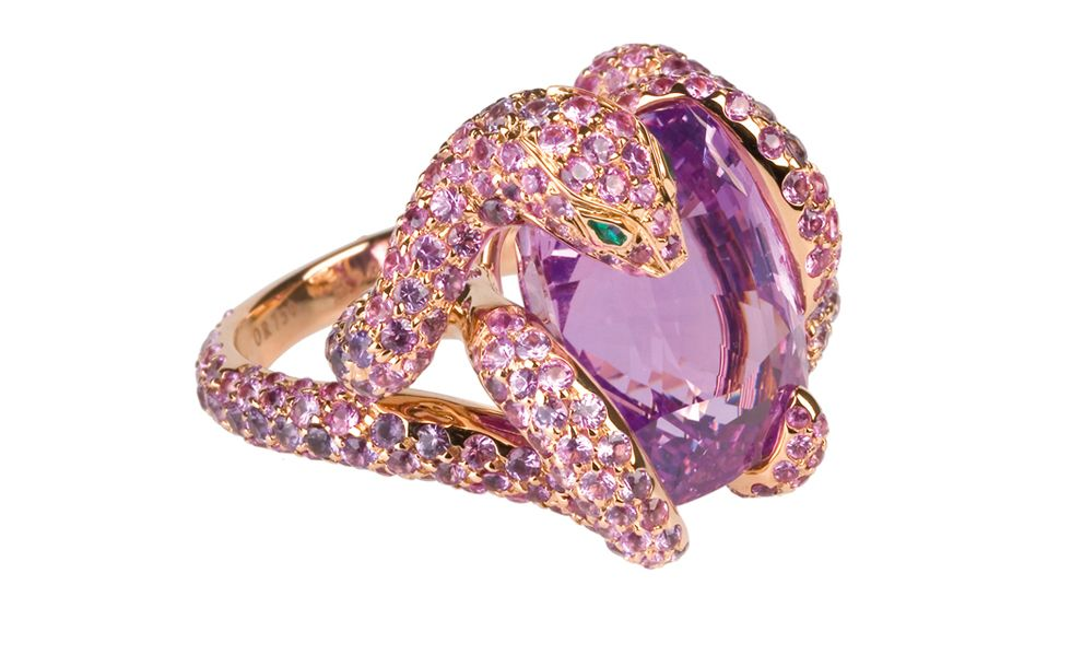 Boucheron Python ring with a Ceylon pink 17.36 carats cushion cut sapphire and 330 pink and 51 purple sapphires set into rose gold. Price: $116,000