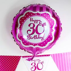 Perfectly Pink Happy 30th Birthday Balloon