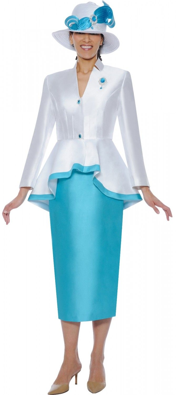 Nubiano N95472 White & Turquoise Skirt Suit - Divine Church Suits ...