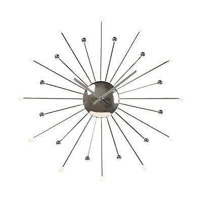 Starburst Wall Clock Designer White and Silver Spokes Modern Decor Wall Hangings
