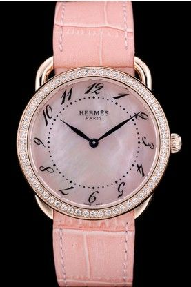 Hermes Arceau Pink Leather Strap Rose Gold Bezel with Crystals