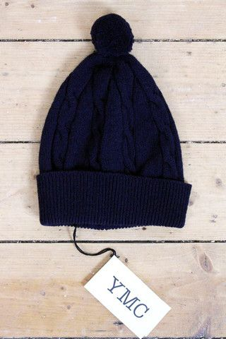 7deb5c6df81 YMC Gilbert Cable Bobble Hat (Navy)