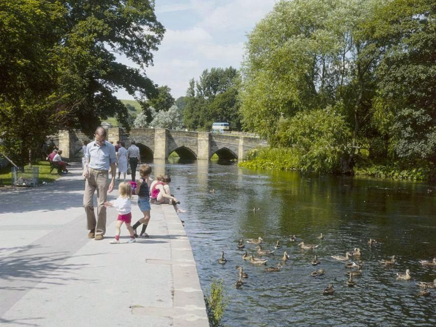 Bakewell the riverside walk by the river wye showing the