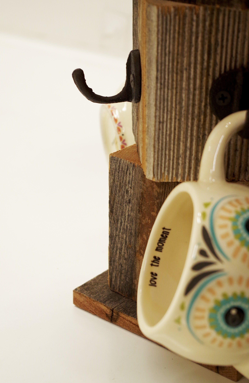 Farmhouse coffee mug tree, Wooden cup holder, Kitchen