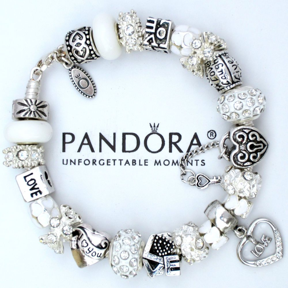 Authentic Pandora Bracelet Silver White I Love You Heart Murano Glass Charm Bead #PandoraBracelet #European