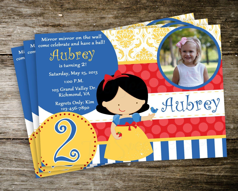 snow white and the 7 dwarfs disney princess photo birthday party invitation digital printable