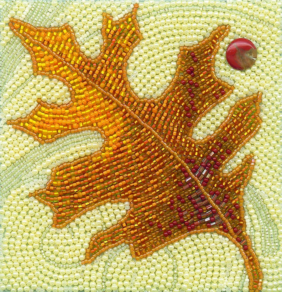 Beaded embroidery leaf art for small framed picture