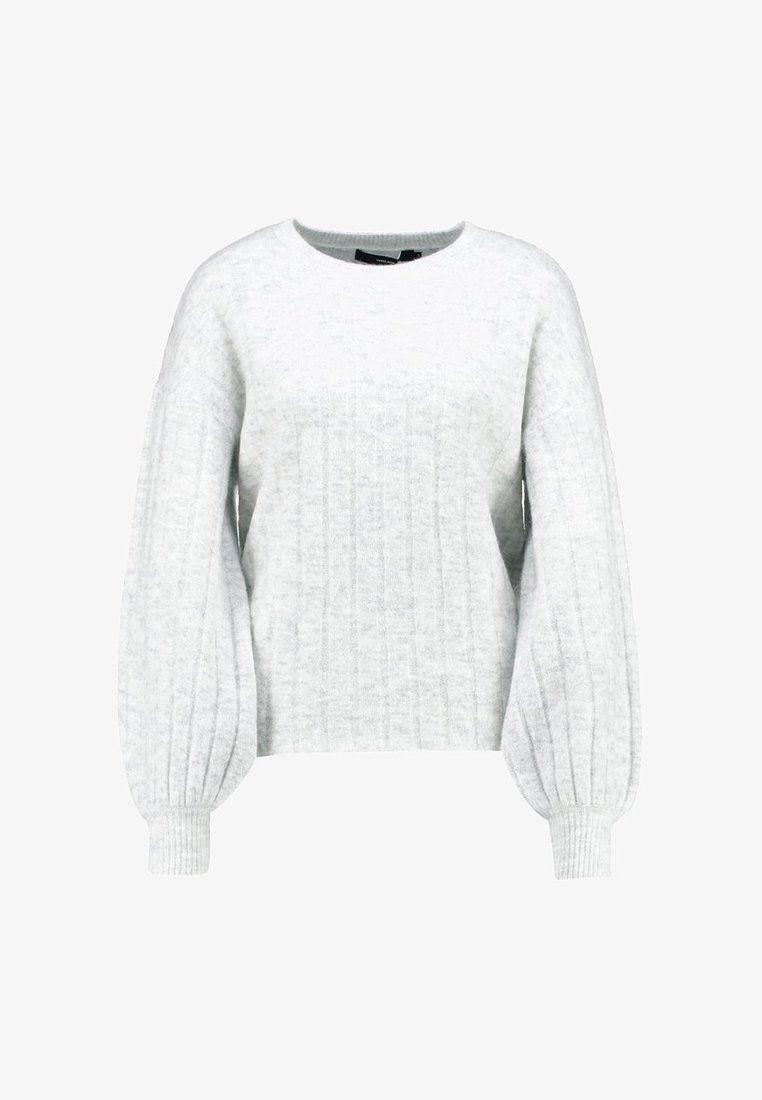 0f57d575c3a2 Vero Moda VMIVA BALLOON - Strikpullover  Striktrøjer - light grey  melange snow melange -