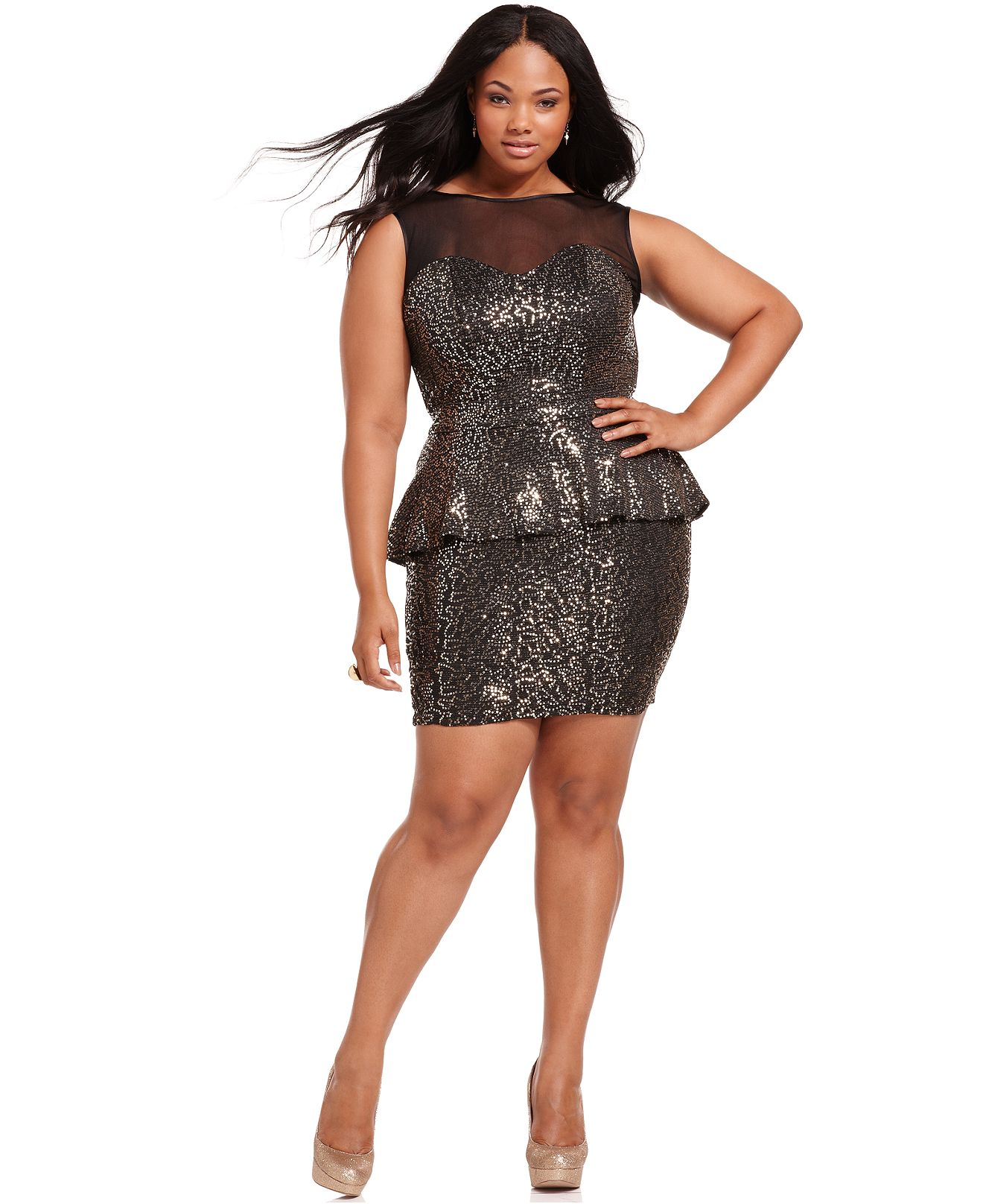 Black/Gold, Baby Phat Plus Size Dress, Sleeveless Sequin ...