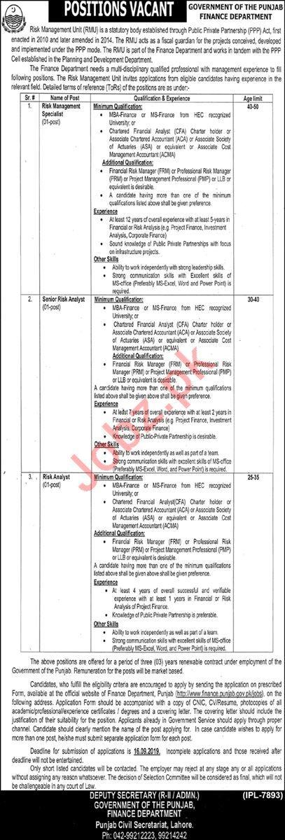 Finance Department Punjab Jobs 2019 Management Specialist