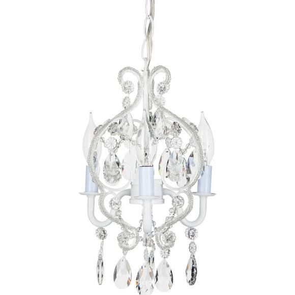 Wrought Iron Crystal Chandelier Lighting Country French White, 3 Lights,, Ceiling Fixture