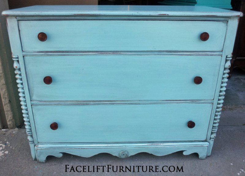 Antique Cherry Dresser In Robinu0027s Egg Blue, With Black Glaze Accenting  Detailed Areas. From