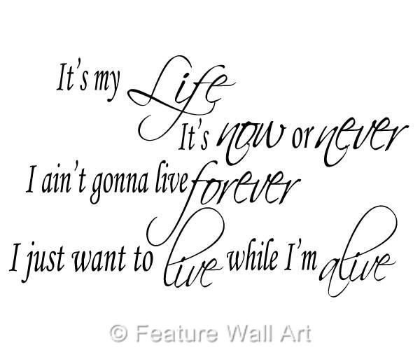 Details About Bon Jovi It S My Life Song Lyrics Wall Art Vinyl