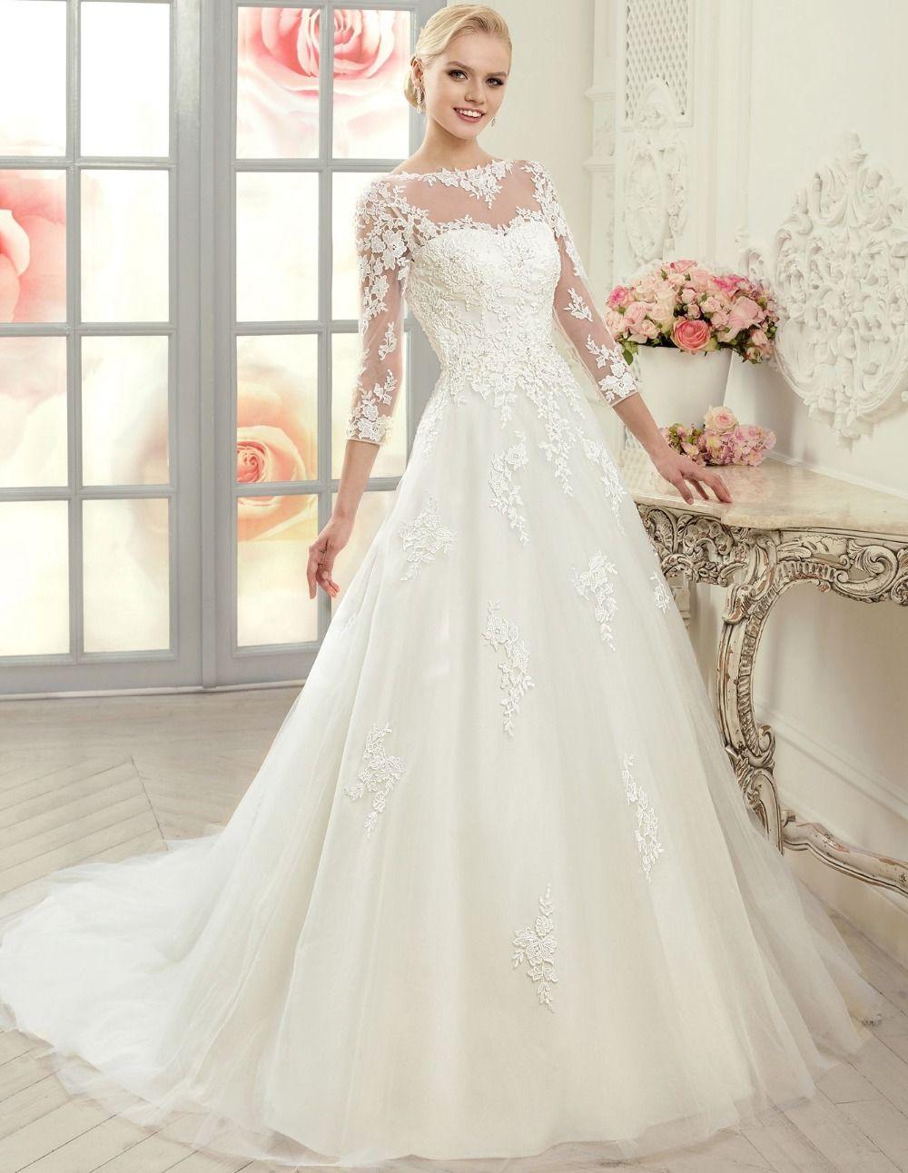 Popular sheer sleeve wedding gownsbuy cheap sheer sleeve wedding