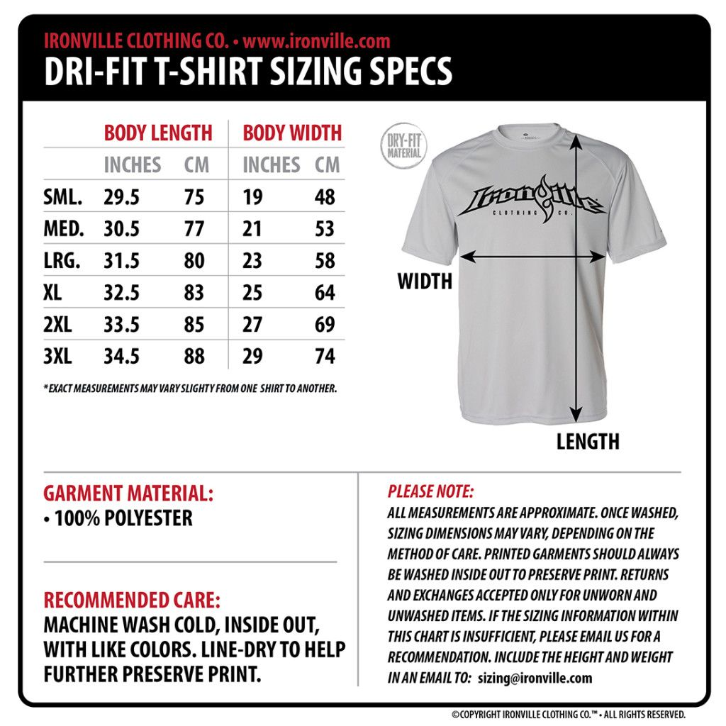 Ironville Size Charts Gym Apparel Measurments Ironville Clothing Dri Fit T Shirts Shirts Bodybuilding T Shirts