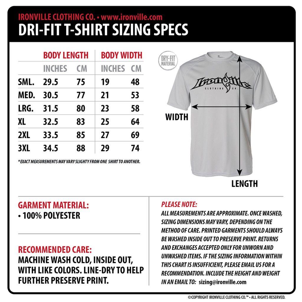 Ironville size charts dri fit t shirts powerlifting