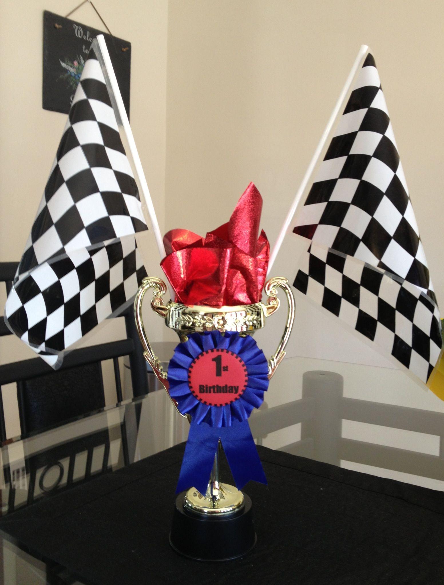 Race car trophy centerpiece plastic trophies and flags