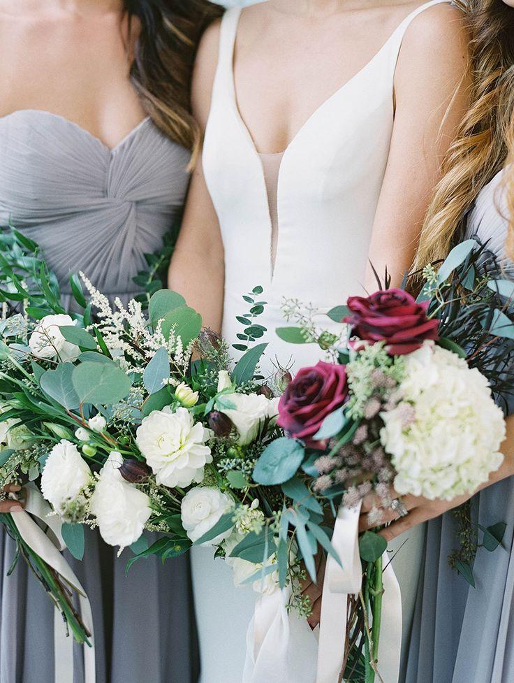 eucalyptus, hydrangea, and rose wedding bouquets