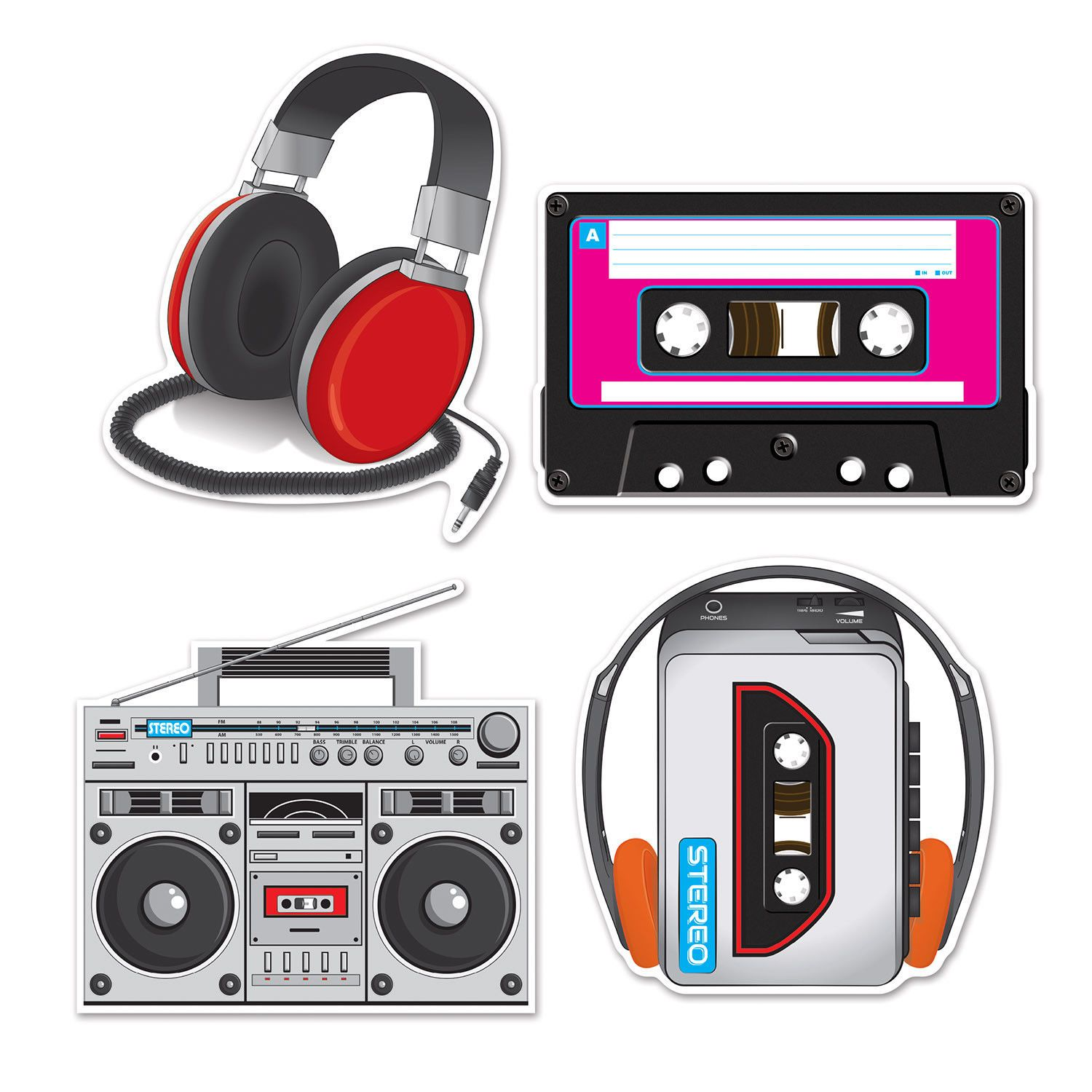 4 Pc Totally 80 S Cassette Player Boombox Cutouts Birthday Party