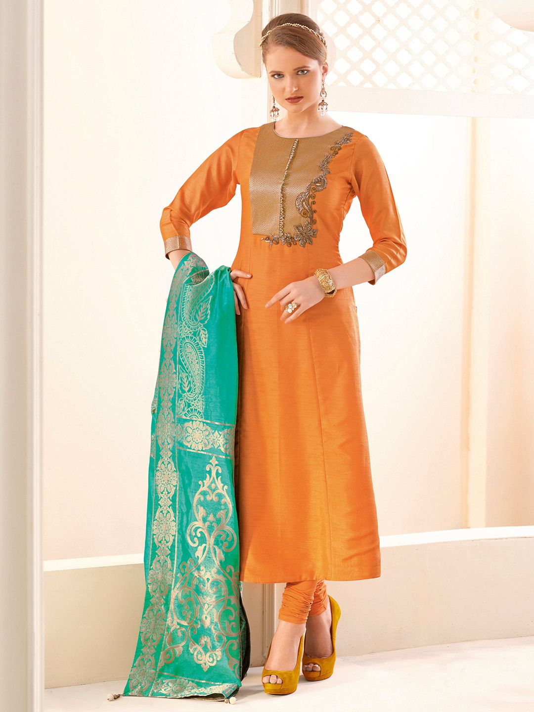 9be9da8504 Shop Plain silk orange salwar suit online from G3fashion India. Brand - G3,  Product code - G3-WSS00111, Price - 6495, Color - Orange, Fabric - Silk,