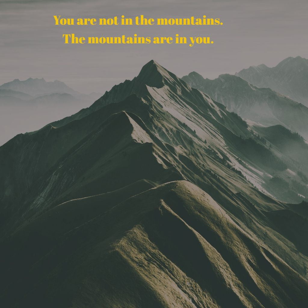 You are not in the mountains The mountains are in you