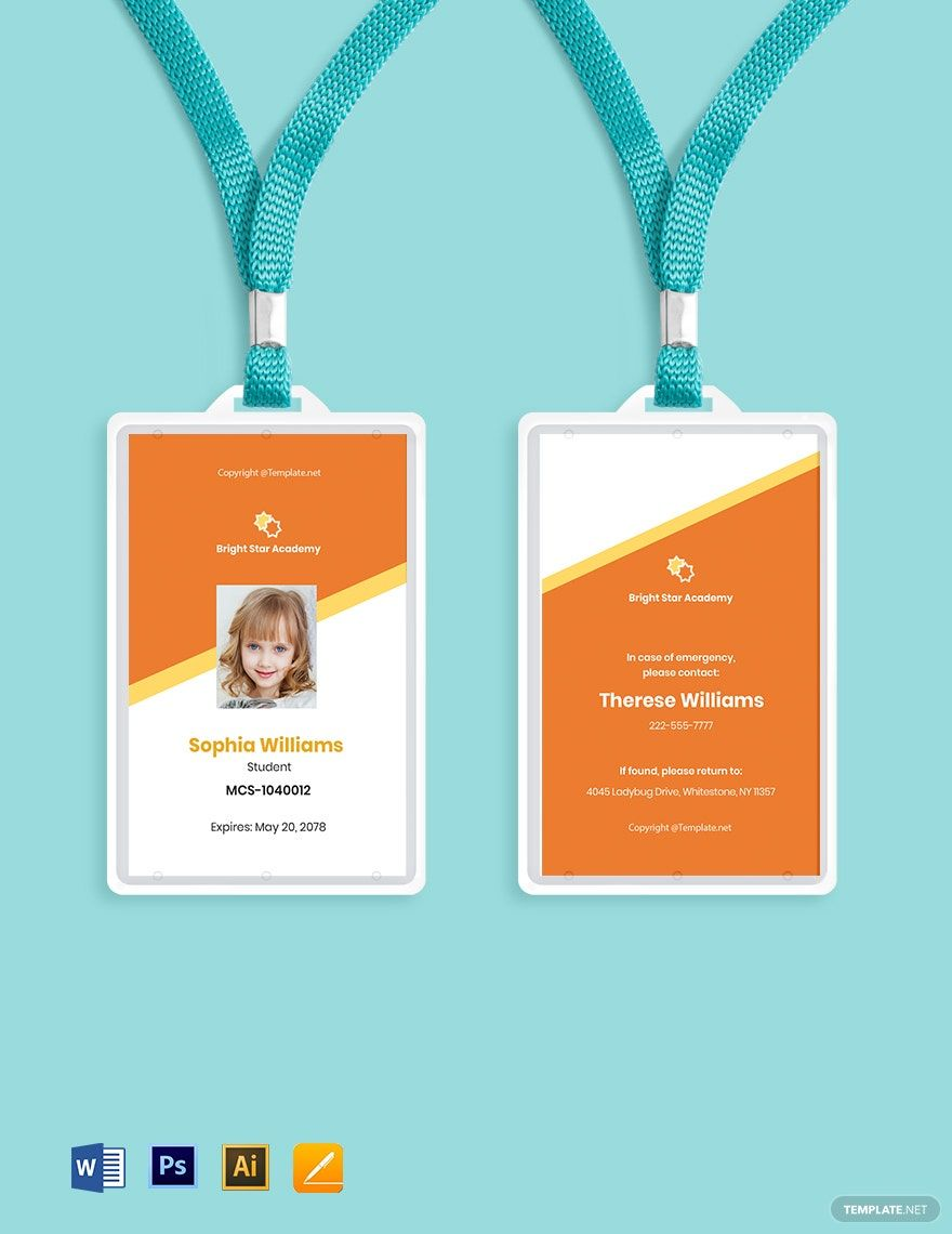 Free Vertical School Id Card Template Word Doc Psd Apple Mac Pages Illustrator Id Card Template School Id Card Template