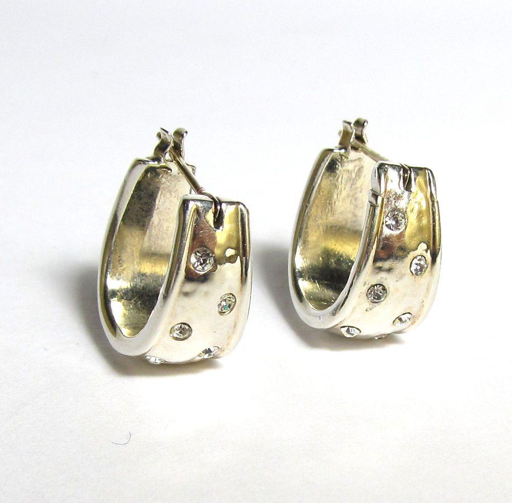 Great Vintage Monet Silver Plated Cz Huggie Hoop Earrings Solid 14k Gold Posts