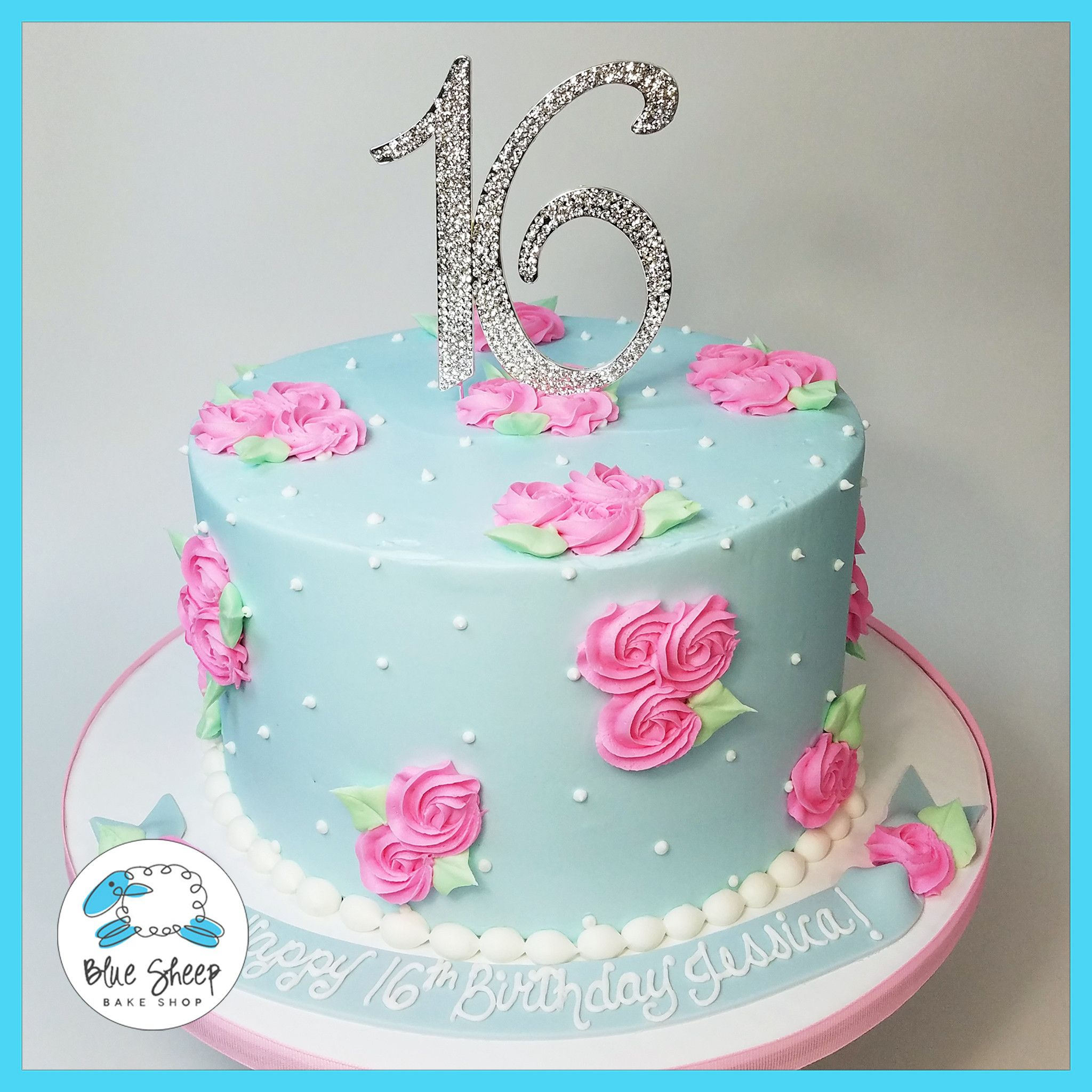 Alice In Wonderland Rosette Birthday Cake  Blue Sheep Bake Shop - Sweet 16 birthday cakes