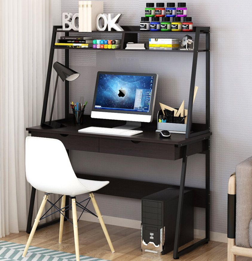 Liberty Tall Computer Desk Workstation With Shelves Drawers Black In 2020 Luxury Desk Computer Desk With Shelves Simple Desk