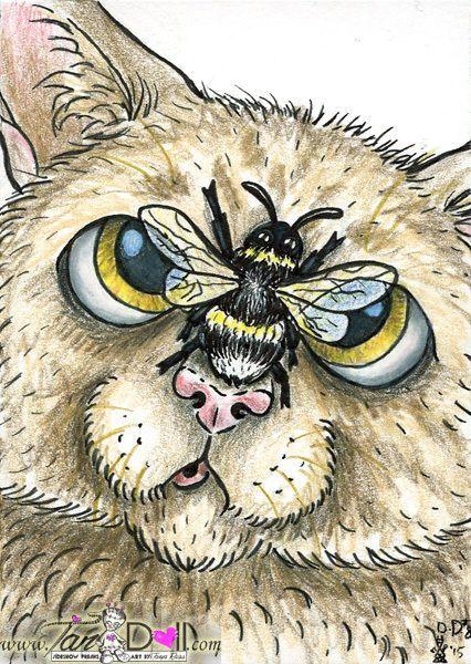 artist tandoll original daily drawing aceo sketch art card tabby cat bumble bee cartoon