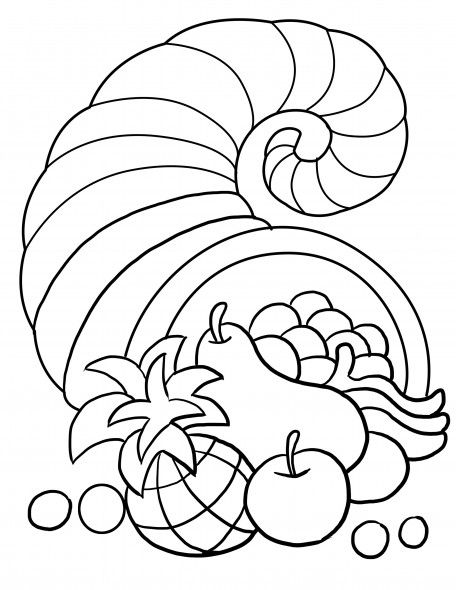 thanksgiving song and free printable cornucopia coloring page for kids - Cornucopia Coloring Page