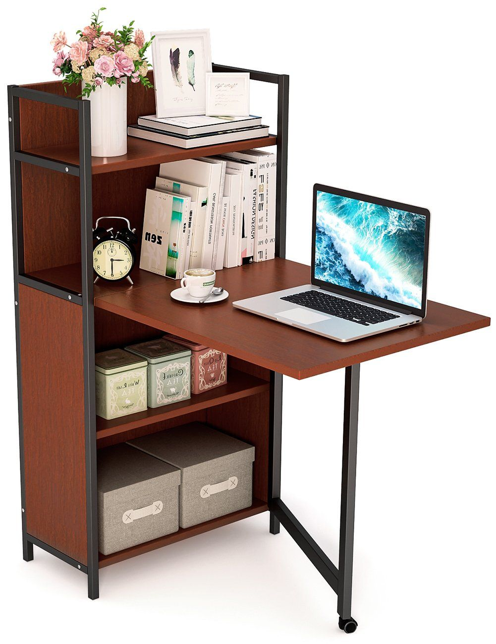 Tribesigns Folding Computer Desk With Bookshelves Pc Laptop Study Writing Desk With Storage Shelve Desks For Small Spaces Bookshelf Desk Folding Computer Desk