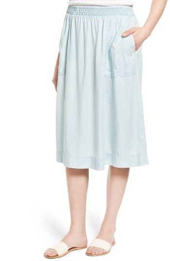 60709a354cf Free shipping and returns on Caslon® Midi Skirt (Regular   Petite) at  Nordstrom.com. A smocked waist and patch pockets enhance the casual feel of  an A-line ...