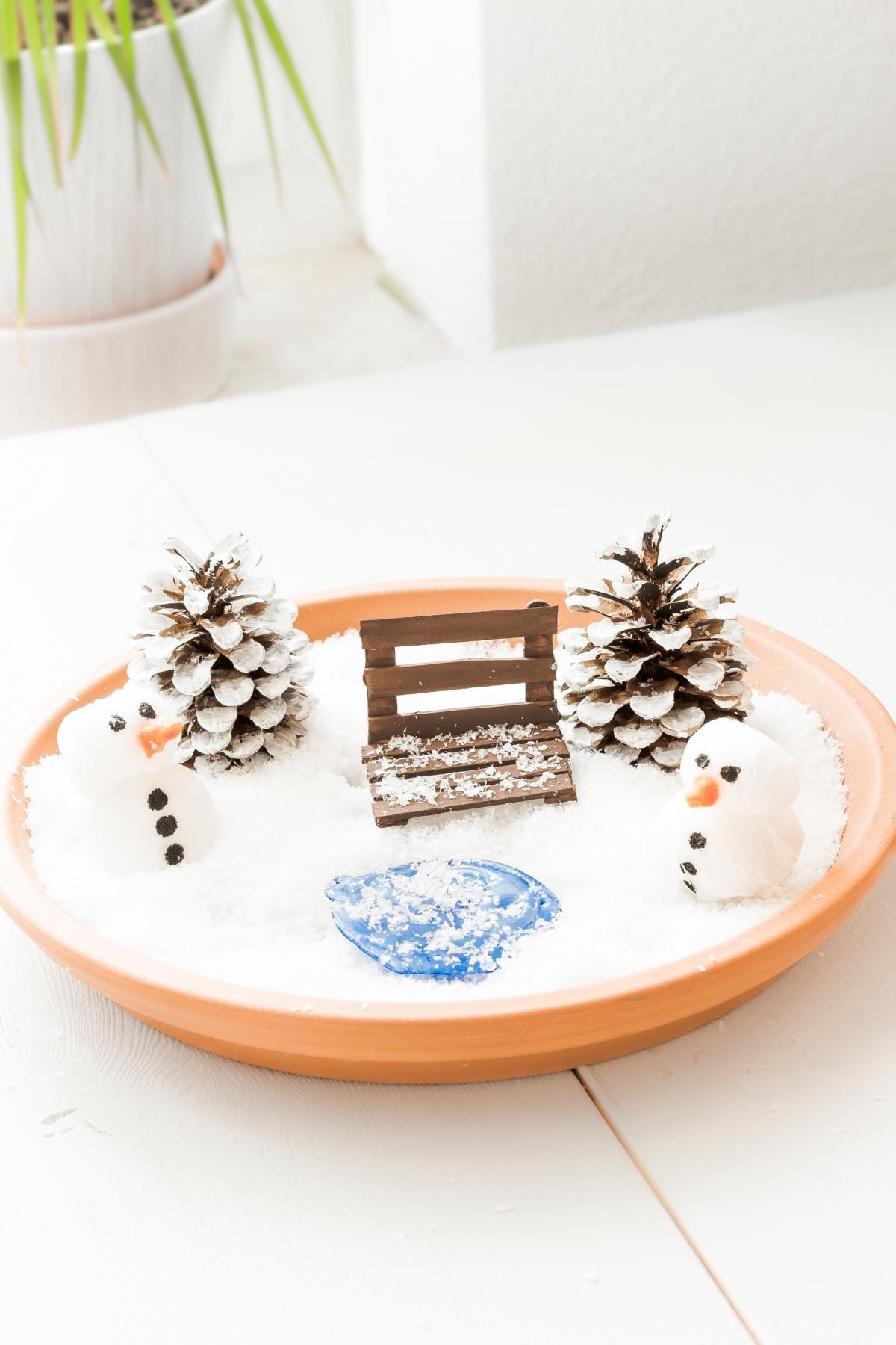 schöne Winterdeko: DIY Miniatur Winterlandschaft basteln ...