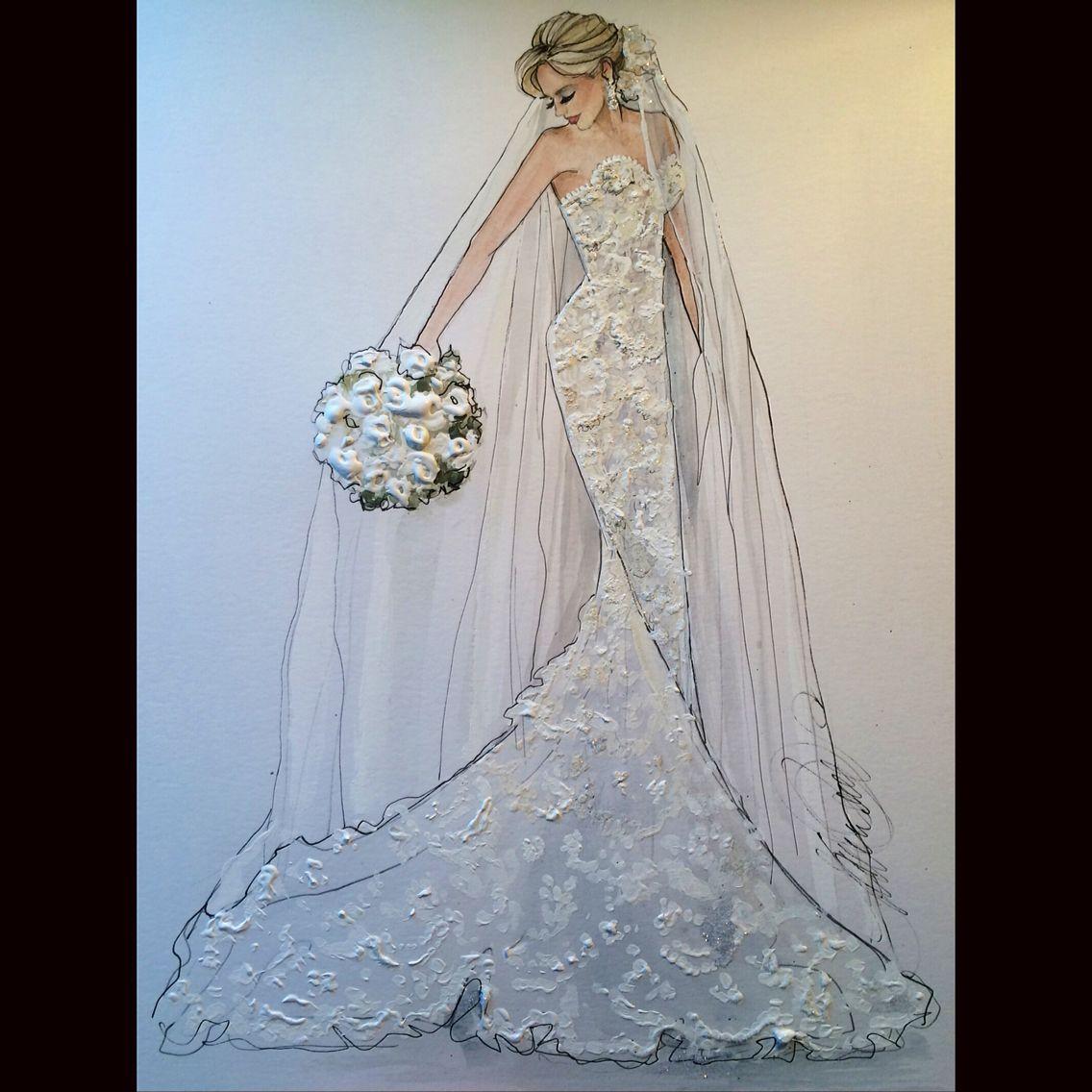 Wedding dress drawing  Pin by Carol Burton on Wedding  Pinterest  Fashion illustrations
