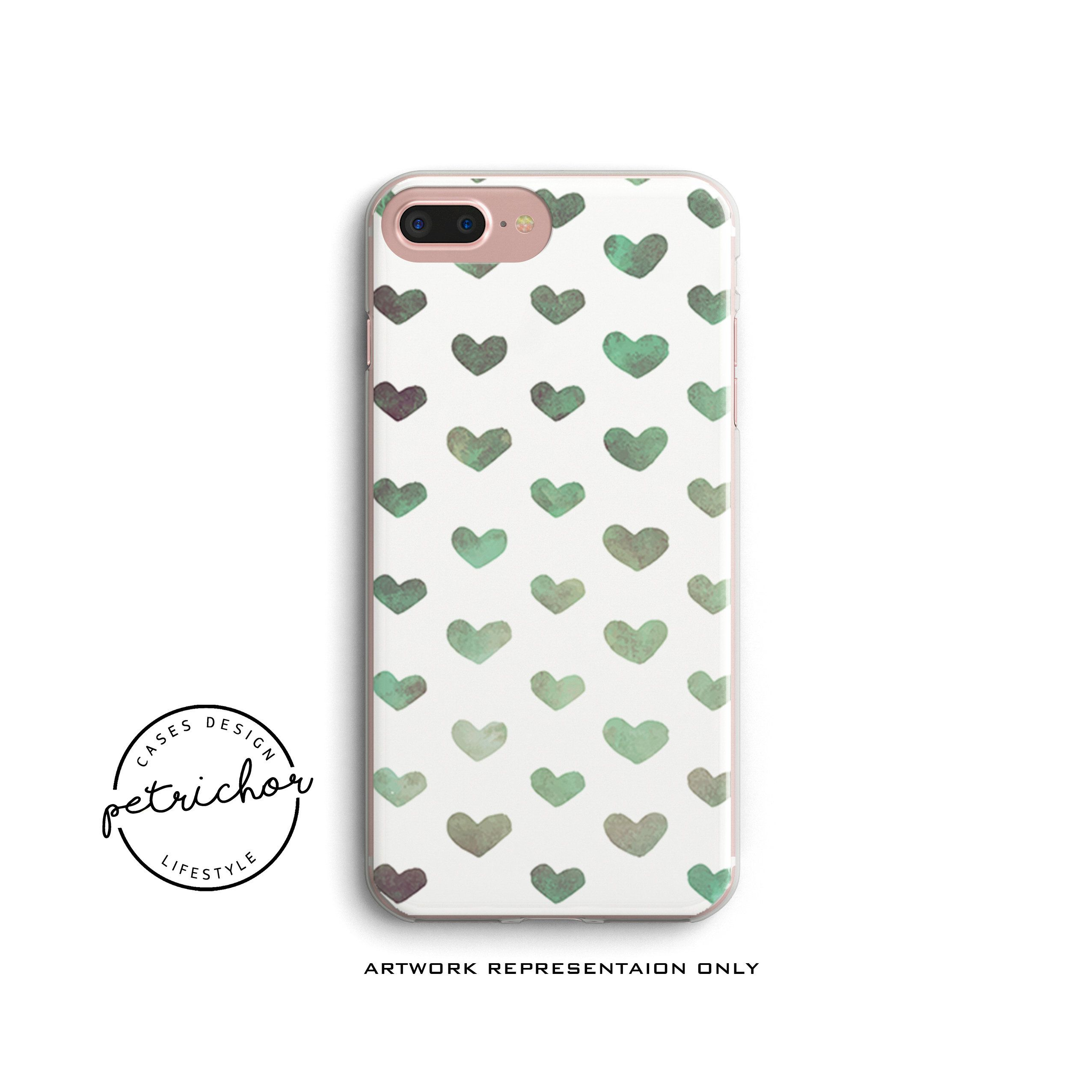 Green Heart Embossed phone case Phone Case iPhone X Case iPhone 8 Case iPhone