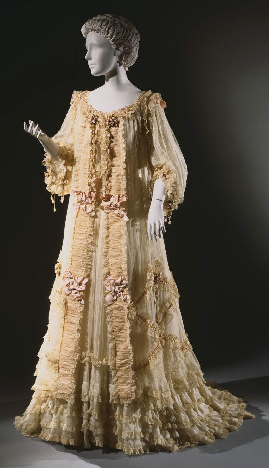 Dressing Gown (Tea Gown) Made Of Silk Chiffon Over Silk Satin, With ...