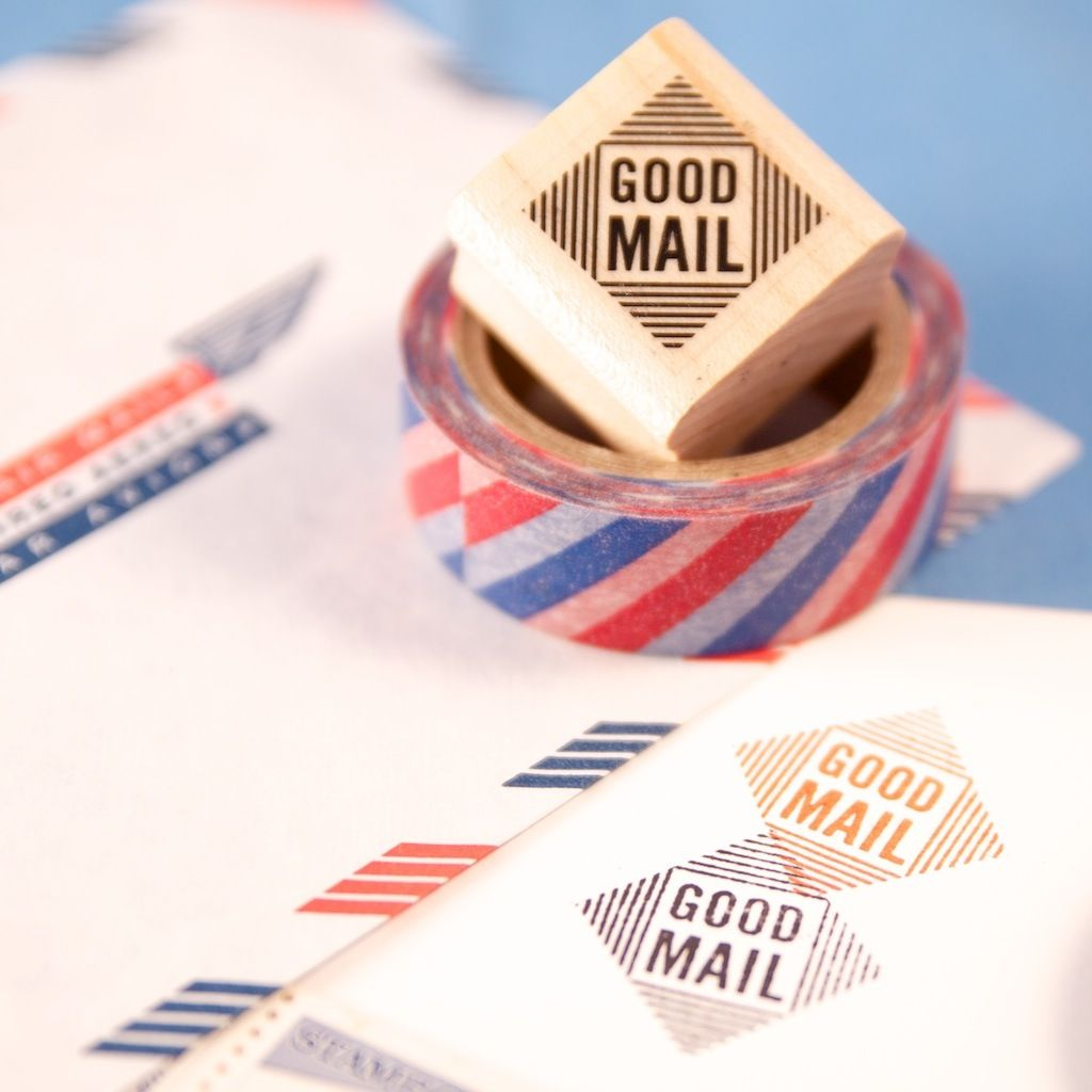 """0.75"""" diamond """"Good Mail"""" stamp mounted on wood block with"""