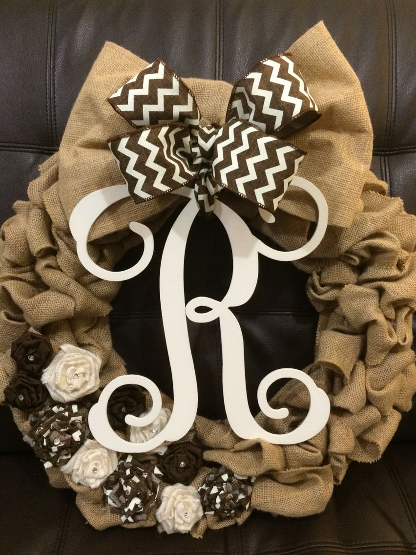Monogram Burlap Wreath with  Ribbon Flowers. Can't wait to put this on my door