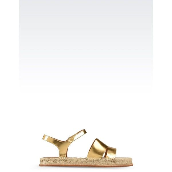 Emporio Armani Espadrilles ($325) ❤ liked on Polyvore featuring shoes, sandals, gold, round toe shoes, gold shoes, leather sole sandals, emporio armani shoes and velcro strap shoes