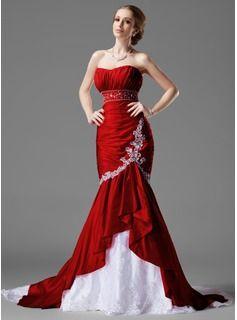 6403d5408 Corte sirena Escote corazón Cola capilla Tafetán De encaje Vestidos de  novia con Volantes Bordado (002000478)