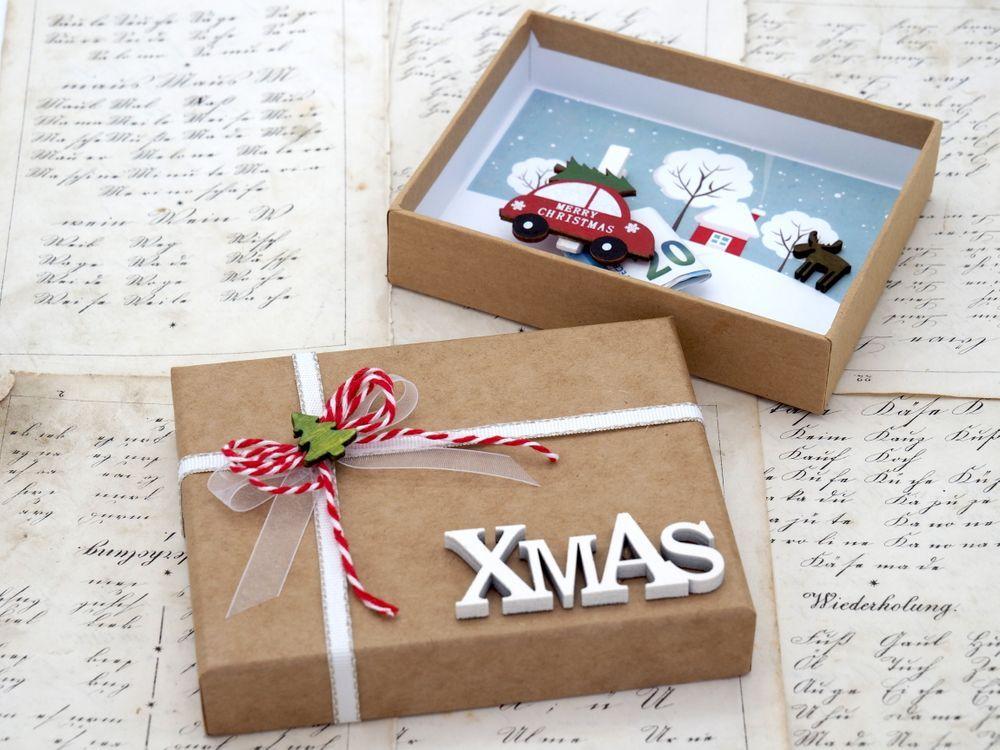 Geldgeschenk Verpackung Weihnachten Auto XMAS Natur