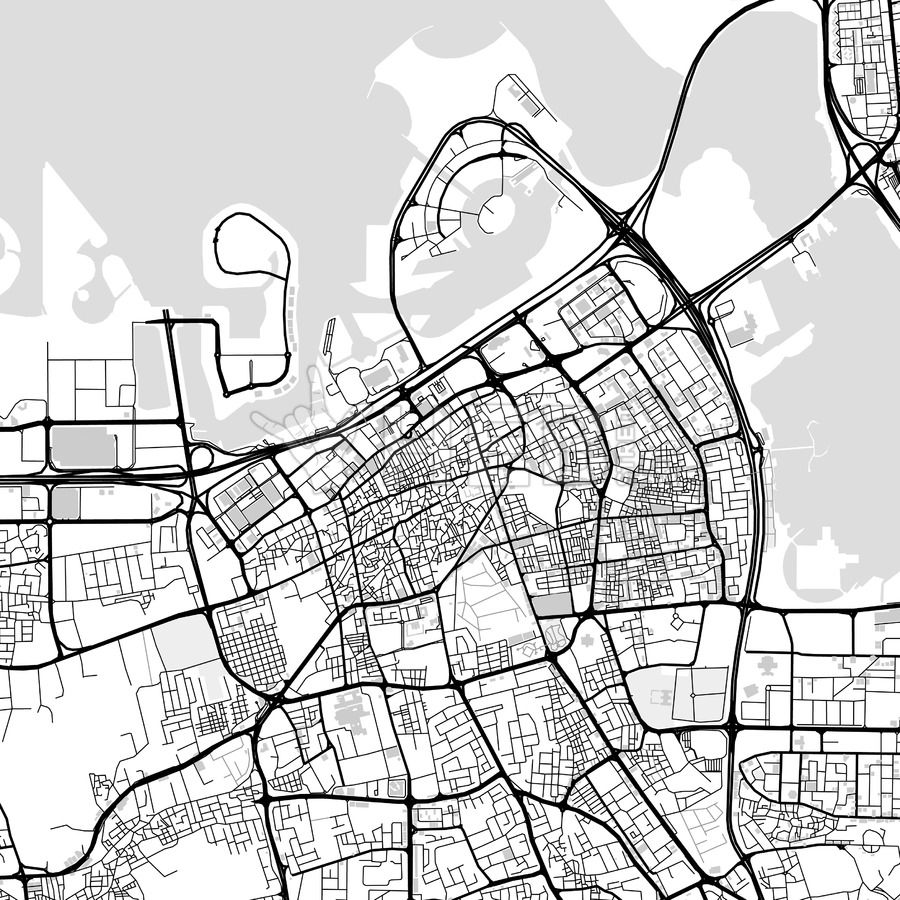 Downtown map of Manama Bahrain Maps Vector Downloads