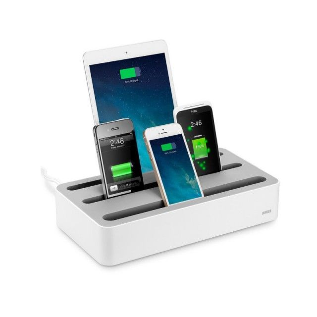 Anker 5 Port Usb Mobile Phone Charger Base Charging Station Multi Storage Box