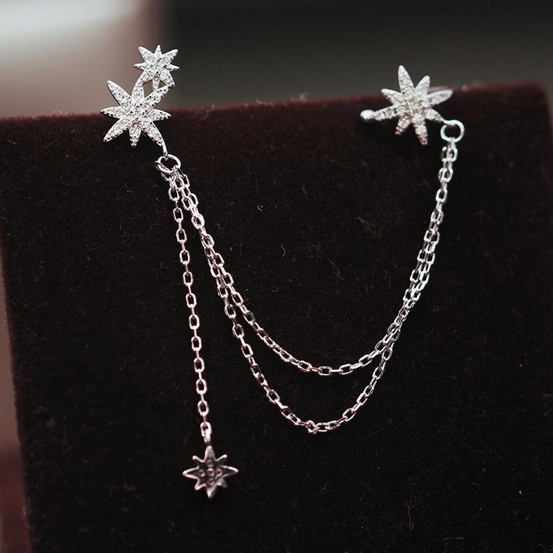 Silver Cubic Zirconia Stars Ear Clip Earrings Chain Jewelry 1 pc