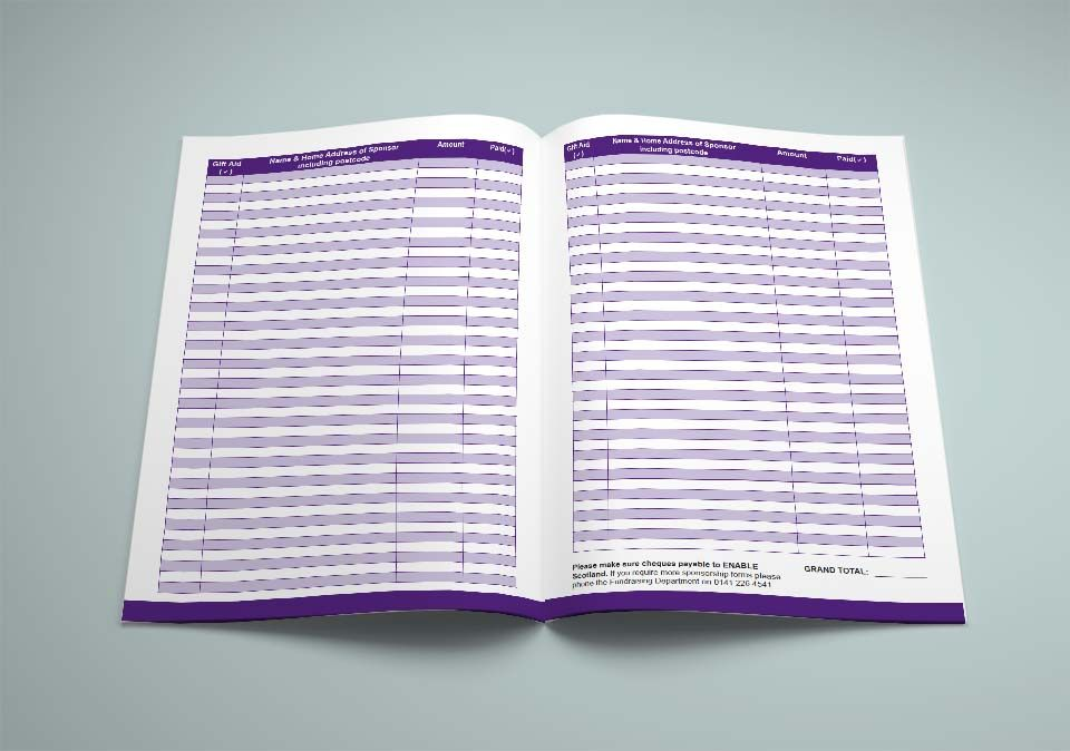Enable Scotland Sponsorship Form Double Page Spread Of The Form