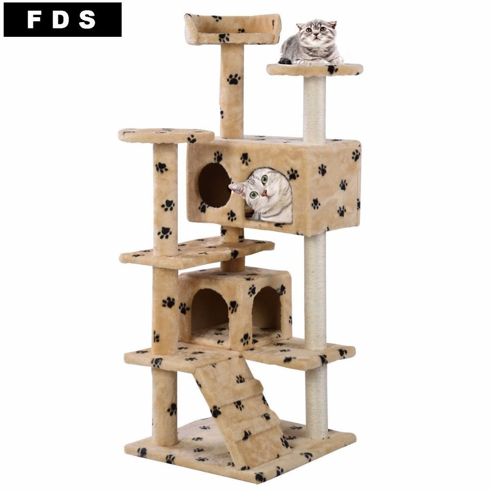 SHIPPING Only US: DaysMaterial: Wood New Cat Tree Tower Condo Furniture  Scratch Post Kitty Pet House Play Beige Paws Product Description  Comfortable Fabric