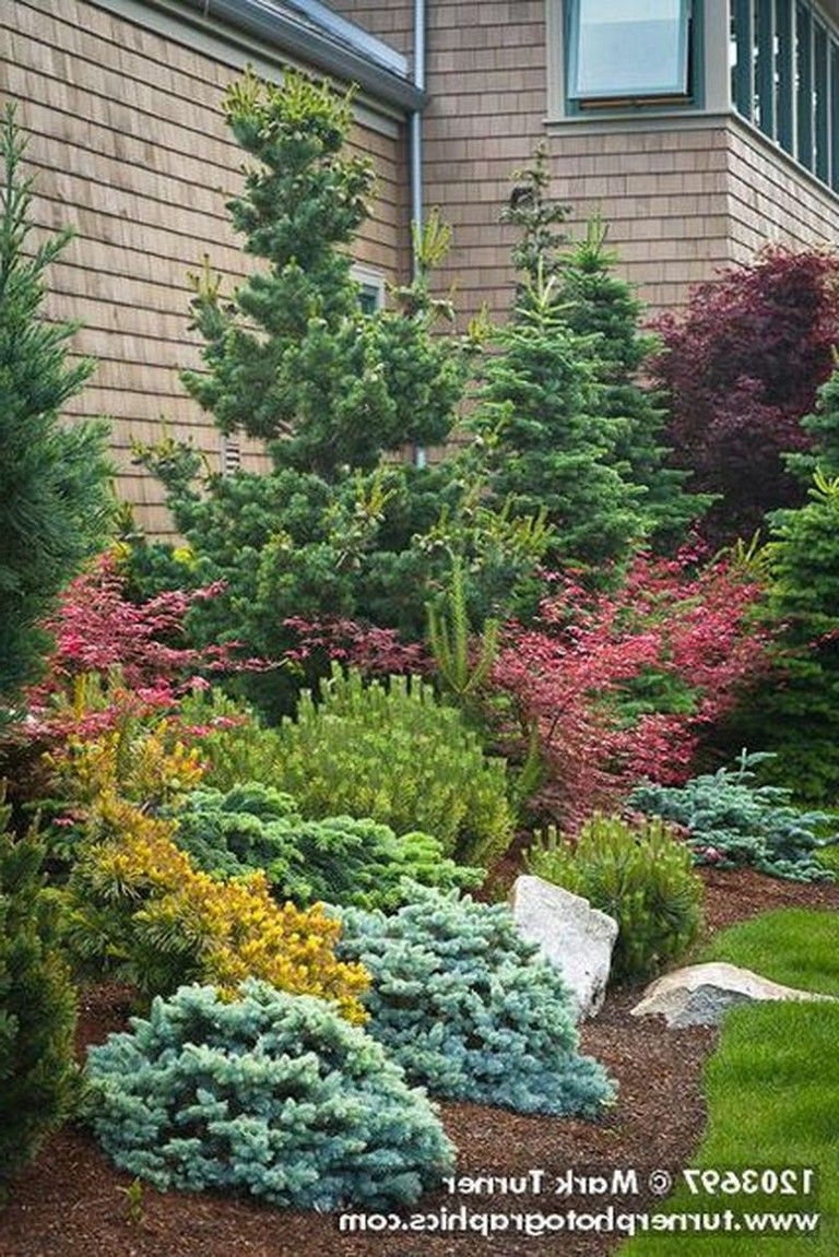 51 Smart Ideas To Make Evergreen Landscape Garden On Your Front Yard Page 49 Of 52 Front Yard Landscaping Design Evergreen Landscape House Landscape