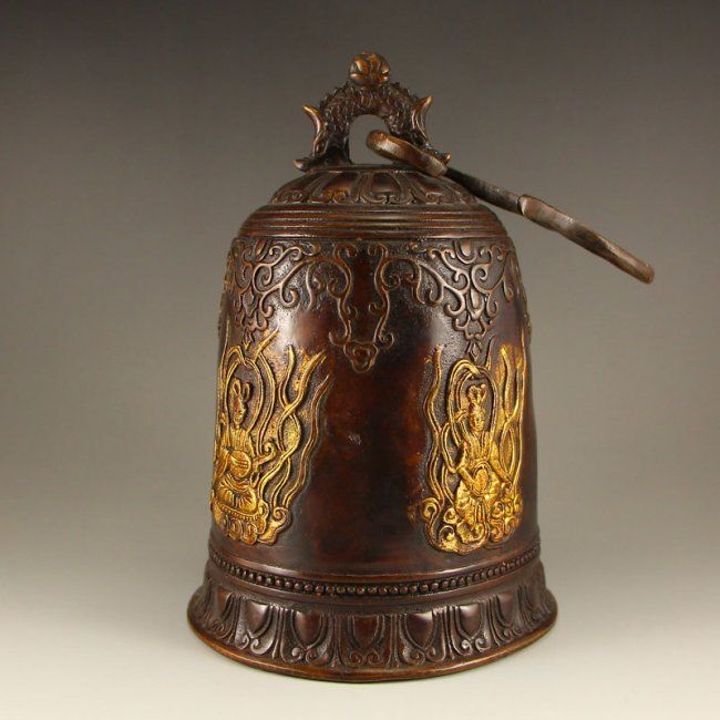 Vintage Chinese Bronze Gold-plated Bell