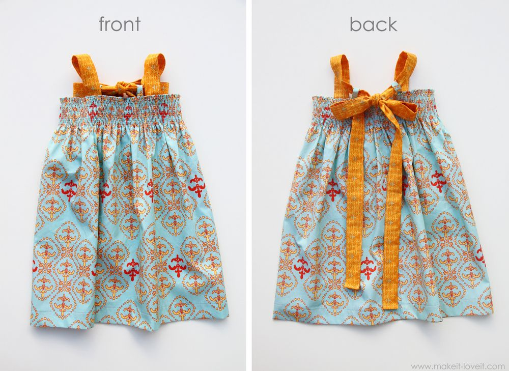 shirred dress with tie back bow (so cute! instructions on making it from a rectangle of fabric)